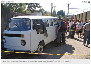 Underground Rio van service vehicle, loaded with black-clad corpses wearing combat boots. August 2007