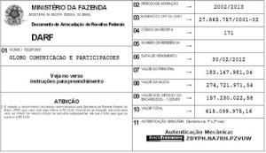 Globo's DARF file