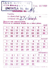 Romania, bread rationing card, 1989. Source: Wikipedia